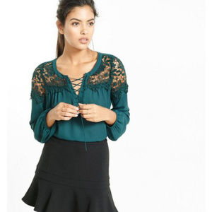 Express green chrochet lace yoke tie up blouse XS